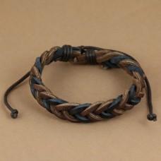 Leren armband met 2-kleurig gevlochten bandjes