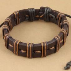 Leren armband met 2-kleurige wax koord bruin