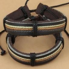 Leren armband 3-kleur gewaxed koord