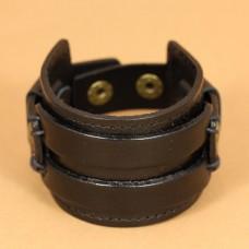 Leren mannen armband breed - zwart