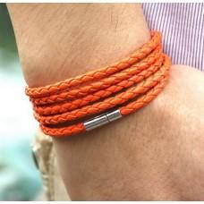 Leren jongens / mannen armband gevlochten leer magnetische sluiting