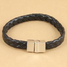 Jongens / mannen armband van plat gevlochten leer - zwart