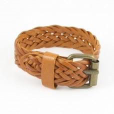 Leren jongens / mannen armband gevlochten met koperen gesp