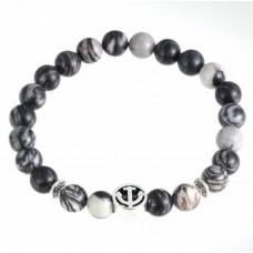 Armband natuursteen grijs zwart met anker bedel - 19 cm.