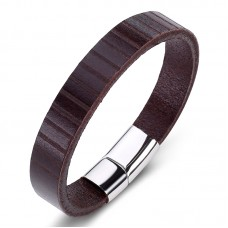 Luxe leren armband met magneetsluiting - 19 cm.