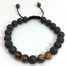 Jongens armband lavasteen en minerale stenen - zwart en bruin - 19 cm.