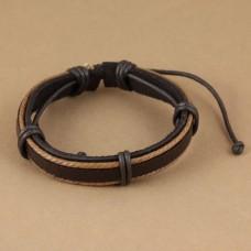 Leren armband met 2 lichtbruine koorden