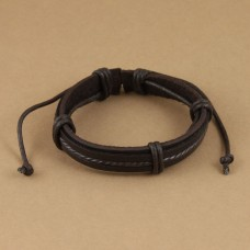 Leren armband met gedraaid wax koord en ringen bruin