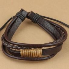Leren armband met goudkleurig windsel