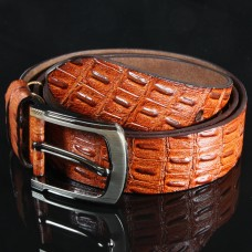 Leren mannen / heren riem - Alligator - rood bruin