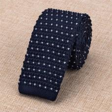 Gebreide stropdas donkerblauw met wit
