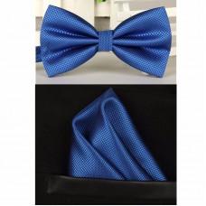 Vlinderdas met pochet blauw