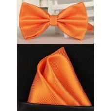 Vlinderdas met pochet oranje