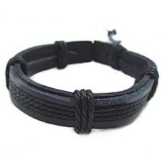 Leren armband zwart gewaxed koord