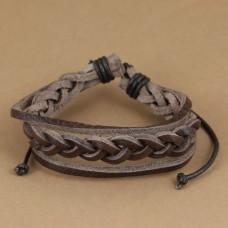 Leren armband met gevlochten en losse bandjes