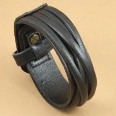 Leren mannen armband medium - zwart