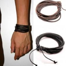 Leren jongens / mannen armband - bruin