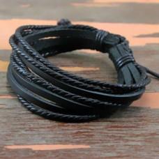 Leren jongens / mannen armband - zwart