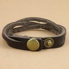 Leren jongens / mannen armband van gevlochten leer