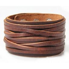 Mega brede leren jongens / mannen armband