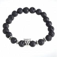 Armband lavasteen zwart met luipaard bedel - 19 cm.