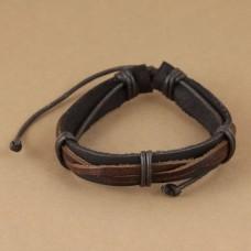 Leren mannen armband met gedraaide bandjes