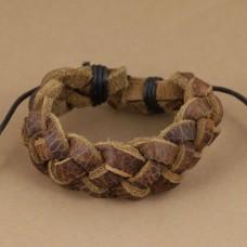 Leren armband met grote vlecht
