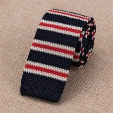 Gebreide stropdas rood-wit-donkerblauw gestreept